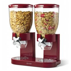 Zevro Double Classic Dry Food Canister with Dispenser, Red