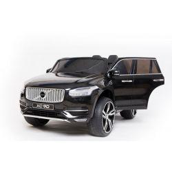 Volvo XC90 elettrico, nero, doppio sedile in pelle, lettore MP3 con ingresso Bluetooth e USB, sportelli e cofano apribili, batteria 12V10Ah, ruote EVA, assi di sospensione, telecomando da 2,4 GHz, con licenza