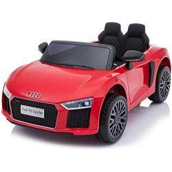 Corsa elettrica su auto Audi R8 piccola, rossa, con licenza originale, alimentazione a batteria, sportelli apribili, motore 2x 35 W, batteria da 12 V, telecomando da 2,4 Ghz, ruote EVA morbide, sospensione, avvio dolce