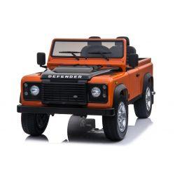 Automobilina elettrica per bambini Land Rover Defender, autorizzata, Radio con ingresso USB / TF, Telecomando 2.4Ghz, Batteria 2 x 12V / 7AH, MOTORE 4 X, Doppio sedile in pelle, Ruote EVA, Arancione