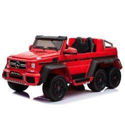 Automobilina elettrica Mercedes-Benz G63 6X6, MP3 Player, Luci ruote e luci inferiori, 2,4 Ghz, 12V14 Ah, scatola batteria rimovibile, MOTORE 4 X, telecomando, sedile doppio in pelle, ruote GUM, radio FM, servomotore, due pedale, rosso