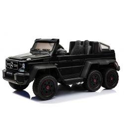 Carro elettrico Mercedes-Benz G63 6X6, Schermo LCD, Luci della ruota e luci inferiori, 2.4 Ghz, 12V/14AH, Batteria rimovibile, 4 X MOTOR, Telecomando, Sedile doppio in pelle, Ruote GUM, Radio FM, Servomotore, Due pedali, Verniciato Nero