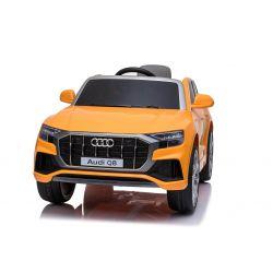Giro elettrico su auto Audi Q8, arancione, con licenza originale, sedile in pelle, porte apribili, motore 2 x 25 W, batteria da 12 V, telecomando da 2,4 Ghz, ruote in EVA morbide, luci a LED, avvio graduale, licenza ORIGINALE