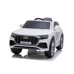 Giro elettrico su auto Audi Q8, bianco, con licenza originale, sedile in pelle, porte apribili, motore 2 x 25 W, batteria da 12 V, telecomando da 2,4 Ghz, ruote EVA morbide, luci a LED, avvio graduale, licenza ORIGINALE