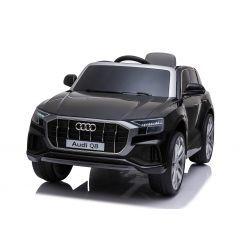 Giro elettrico su auto Audi Q8, nero, con licenza originale, sedile in pelle, porte apribili, motore 2 x 25 W, batteria da 12 V, telecomando da 2,4 Ghz, ruote in EVA morbide, luci a LED, avvio graduale, licenza ORIGINALE