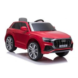 Giro elettrico su auto Audi Q8, rosso, con licenza originale, sedile in pelle, porte apribili, motore 2 x 25 W, batteria da 12 V, telecomando da 2,4 Ghz, ruote in EVA morbide, luci a LED, avvio graduale, licenza ORIGINALE