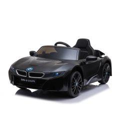 Giro elettrico su auto BMW i8, nero, con licenza originale, sedile in pelle, porte apribili, motore 2 x 25 W, batteria da 12 V, telecomando da 2,4 Ghz, ruote in EVA morbide, sospensione, avvio dolce