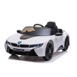 Giro elettrico su auto BMW i8, bianco, con licenza originale, sedile in pelle, porte apribili, motore 2 x 25 W, batteria da 12 V, telecomando da 2,4 Ghz, ruote EVA morbide, sospensione, avvio dolce