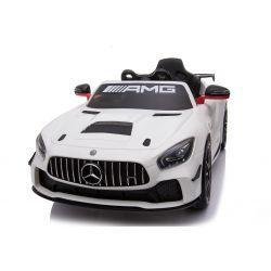 Electric Ride on Car Mercedes-Benz GT4, bianco, con licenza originale, alimentato a batteria, portiere apribili, motore 2x, batteria 12 V, telecomando 2.4 Ghz, ruote soft EVA, Servomotore, avviamento regolare