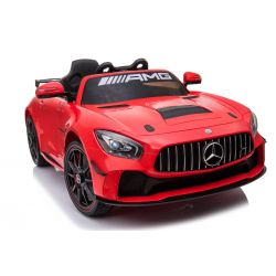 Giro elettrico per auto Mercedes-Benz GT4, rosso, con licenza originale, alimentato a batteria, sportelli apribili, motore 2x, batteria da 12 V, telecomando 2.4 Ghz, ruote soft EVA, Servomotore, avvio regolare