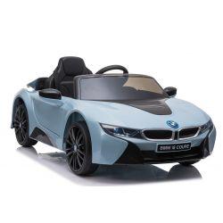 Giro elettrico su auto BMW i8, blu, con licenza originale, sedile in pelle, porte apribili, motore 2 x 25 W, batteria da 12 V, telecomando da 2,4 Ghz, ruote in EVA morbide, sospensione, avvio dolce