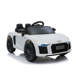 Audi R8 elettrico Ride on Car, piccolo, bianco, con licenza originale, alimentato a batteria, sportelli apribili, motore 2x 35 W, batteria da 12 V, telecomando da 2,4 Ghz, ruote EVA morbide, sospensioni, avviamento dolce