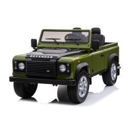 Automobilina elettrica per bambini Land Rover Defender, autorizzata, Radio con ingresso USB / TF, Telecomando 2.4Ghz, Batteria 2 x 12V / 7AH, MOTORE 4 X, Doppio sedile in pelle, Ruote EVA, Verde