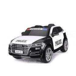 Giro elettrico su auto della polizia Audi Q5, 2,4 GHz DO, MOTORE 2 X 40 W, nero, USB, scheda SD, sedile singolo in pelle, ruote Eva, avvio regolare, licenza ORIGINALE