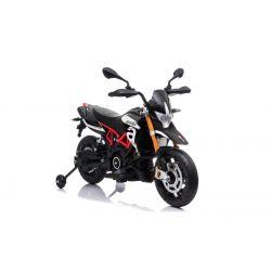 Moto elettrica APRILIA DORSODURO 900, con licenza, batteria 12V, ruote morbide EVA, 2 motori da 18W, sospensioni, telaio in metallo, forcella in metallo, ruote ausiliarie, nero