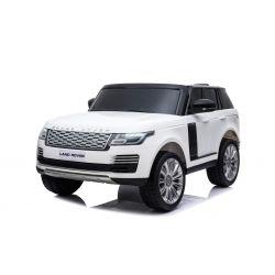 Range Rover elettrico, bianco, doppio sedile in pelle, display LCD con ingresso USB, unità 4x4, batteria 2x 12V7Ah, ruote EVA, assi di sospensione, avviamento a chiave, telecomando Bluetooth da 2,4 GHz