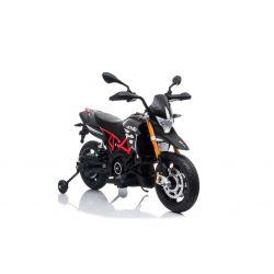 Moto elettrica APRILIA DORSODURO 900, con licenza, batteria 12V, ruote morbide EVA, 2 motori da 18W, sospensioni, telaio in metallo, forcella in metallo, ruote ausiliarie, grigio