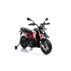 Moto elettrica APRILIA DORSODURO 900, con licenza, batteria 12V, ruote morbide EVA, 2 motori da 18W, sospensioni, telaio in metallo, forcella in metallo, ruote ausiliarie, rosso
