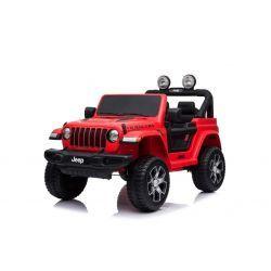 Wrangler JEEP elettrico, rosso, doppio sedile in pelle, radio con ingresso Bluetooth e USB, unità 4x4, batteria 12V10Ah, ruote EVA, assi di sospensione, telecomando da 2,4 GHz, con licenza