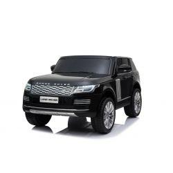 Range Rover elettrico, nero, doppio sedile in pelle, display LCD con ingresso USB, unità 4x4, batteria 2x 12V7Ah, ruote EVA, assi di sospensione, avviamento a chiave, telecomando Bluetooth da 2,4 GHz