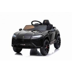 Sella elettrica per auto Lamborghini URUS, nero, con licenza originale, alimentazione a batteria, porte ad apertura verticale, 2x motore, batteria da 12 V, telecomando da 2,4 Ghz, ruote in EVA morbide, sospensione, avvio regolare