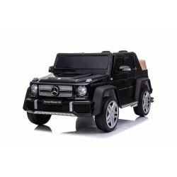 Giro elettrico su auto Mercedes G650 MAYBACH, nero, licenza originale, alimentazione a batteria 12V, porte apribili, motore 2 x 25 W, telecomando da 2,4 Ghz, ruote in EVA morbide, sospensione, avvio graduale, lettore MP3 con ingresso USB / SD