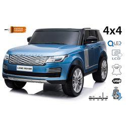 Range Rover elettrico, verniciato blu, doppio sedile in pelle, display LCD con ingresso USB, unità 4x4, batteria 2x 12V7Ah, ruote EVA, assi di sospensione, avviamento a chiave, telecomando Bluetooth da 2,4 GHz
