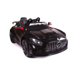 Electric Ride on Car Mercedes-Benz GT4, nero, con licenza originale, alimentato a batteria, sportelli apribili, 2x motore, batteria 12 V, telecomando 2.4 Ghz, ruote soft EVA, Servomotore, avviamento regolare