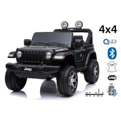 Wrangler JEEP elettrico, nero, doppio sedile in pelle, radio con ingresso Bluetooth e USB, unità 4x4, batteria 12V10Ah, ruote EVA, assi di sospensione, telecomando da 2,4 GHz, con licenza