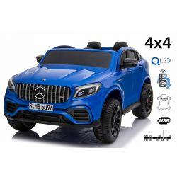 Mercedes-AMG GLC elettrico Ride-On, blu, doppio sedile in pelle, FM radio con ingresso USB, unità 4x4, batteria 2x 12V7Ah, ruote EVA, assi di sospensione, telecomando da 2,4 GHz, con licenza