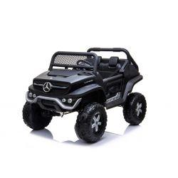 Automobilina elettrica Mercedes-Benz UNIMOG - Nero, Telecomando 2.4 Ghz, 4 X 4, due posti, Sospensione, Pulsante Start, Ruote EVA morbide, USB, Bluetooth
