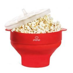 Richard Bergendi PoPuP Microwave Popcorn Popper with Convenient Handles, Silicone Popcorn Maker, Collapsible Bowl with Lid