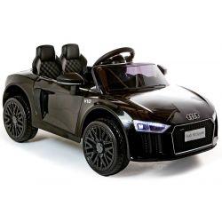 Audi R8 elettrico, per auto elettrica, piccolo, nero, con licenza originale, alimentato a batteria, sportelli apribili, 2 motori da 35 W, batteria da 12 V, telecomando da 2,4 Ghz, ruote in EVA morbide, sospensione, avviamento dolce