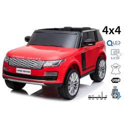 Range Rover elettrico, rosso, doppio sedile in pelle, display LCD con ingresso USB, unità 4x4, batteria 2x 12V7Ah, ruote EVA, assi di sospensione, avviamento a chiave, telecomando Bluetooth da 2,4 GHz