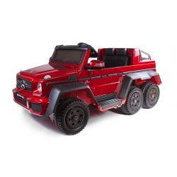 Carro elettrico Mercedes-Benz G63 6X6, Schermo LCD, Luci della ruota e luci inferiori, 2.4 Ghz, 12V/14AH, Batteria rimovibile, 4 X MOTOR, Telecomando, Sedile doppio in pelle, Ruote GUM, Radio FM, Servomotore, Due pedali, Verniciato rosso
