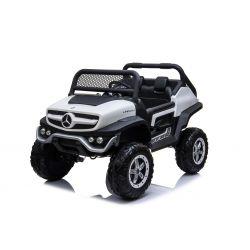Automobilina elettrica Mercedes-Benz UNIMOG - Bianco, Telecomando 2.4 Ghz, 4 X 4, due posti, Sospensione, Pulsante Start, Ruote EVA morbide, USB, Bluetooth
