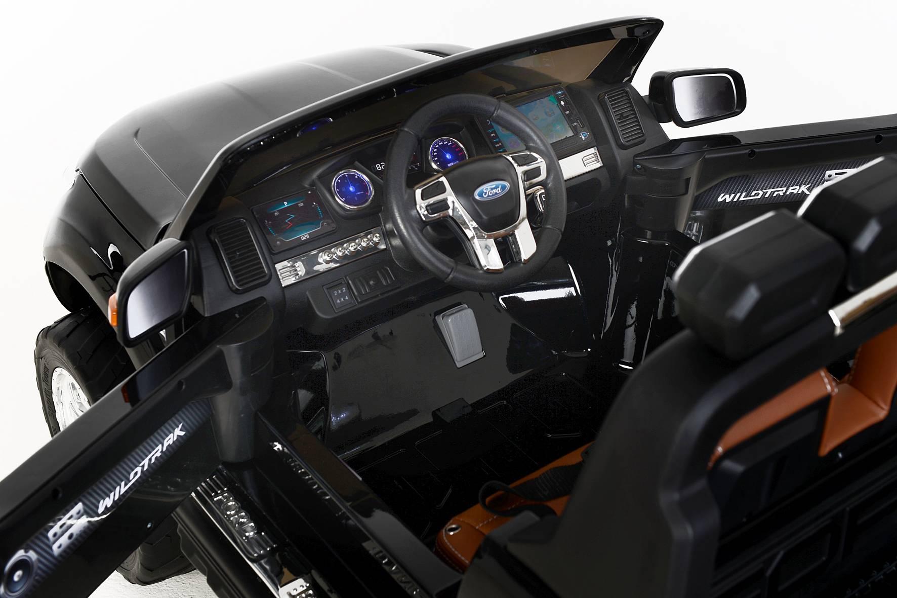Electric Ride-On Toy Car Ford Ranger Wildtrak 4X4 LCD Luxury, LCD screen, 2.4Ghz, 2x12V, 4 X MOTOR, remote control, two-seats in leather, Soft EVA wheels, FM Radio, Bluetooth, Black